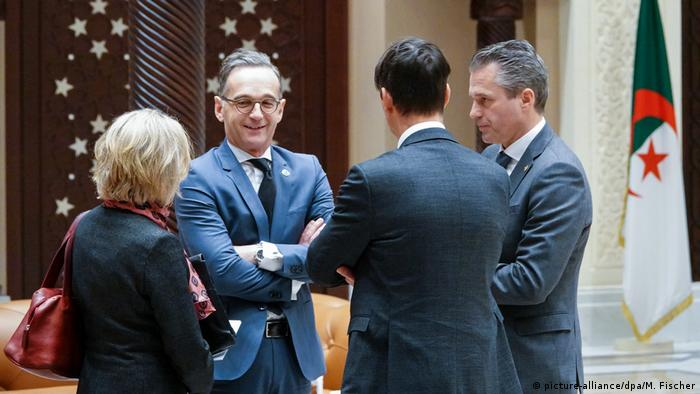 German Foreign Minister Heiko Maas speaks with representatives of countries neighboring Libya