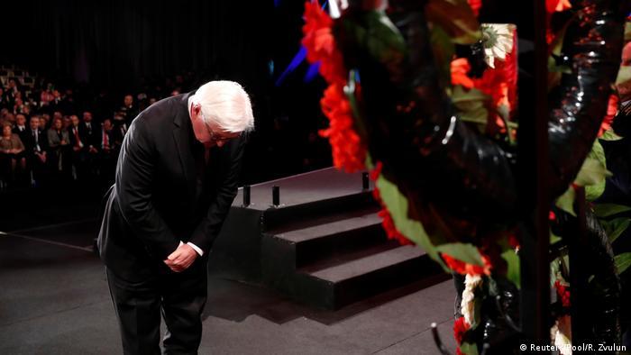 O presidente da Alemanha, Frank-Walter Steinmeier, em cerimônia pela libertação de Auschwitz em Israel