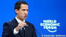 Venezuela's National Assembly President and opposition leader Juan Guaido, who many nations have recognised as the country's rightful interim ruler, delivers a special address during the 50th World Economic Forum (WEF) annual meeting in Davos, Switzerland, January 23, 2020. REUTERS/Denis Balibouse