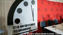 The Doomsday Clock is seen at the National Press Club following a panel discussion in Washington, DC on Thursday, January 23, 2020. Bulletin of the Atomic Scientists cite worsening nuclear threat, lack of climate action & rise of Cyber-enabled disinformation campaign in moving the doomsday clock to 100 seconds before midnight. Photo by Ken Cedeno/UPI Photo via Newscom picture alliance |