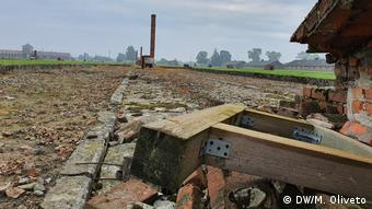 Ground view of collapsing buildings at Auschwitz-Birkenau are starting to collapse