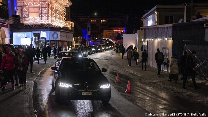Heavy traffic rolls through Promenade street during the 50th annual meeting of the World Economic Forum, WEF, in Davos