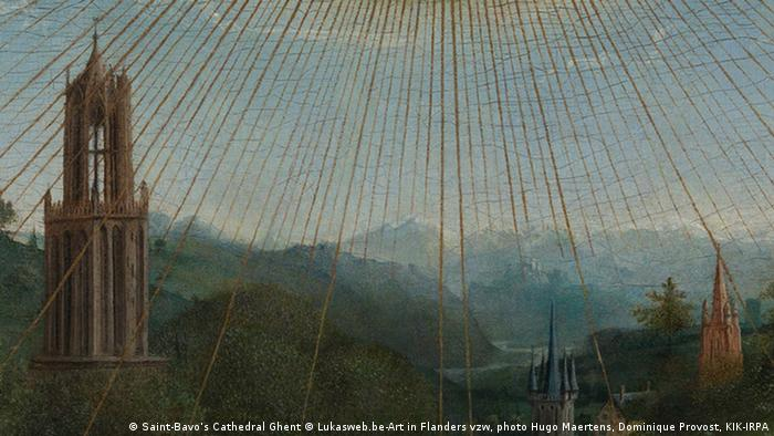 Detail from van Eyck's Ghent Altarpiece with rays and mountain landscape (Saint-Bavo's Cathedral Ghent © Lukasweb.be-Art in Flanders vzw, photo Hugo Maertens, Dominique Provost, KIK-IRPA)