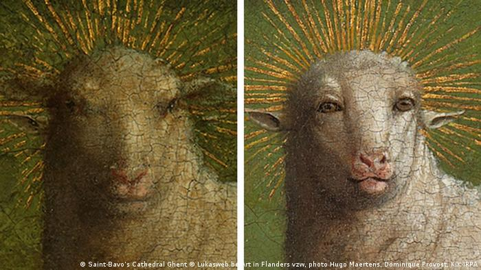 The Lamb of God depicted on the Ghent Altarpiece before and after restoration (Saint-Bavo's Cathedral Ghent © Lukasweb.be-Art in Flanders vzw, photo Hugo Maertens, Dominique Provost, KIK-IRPA)