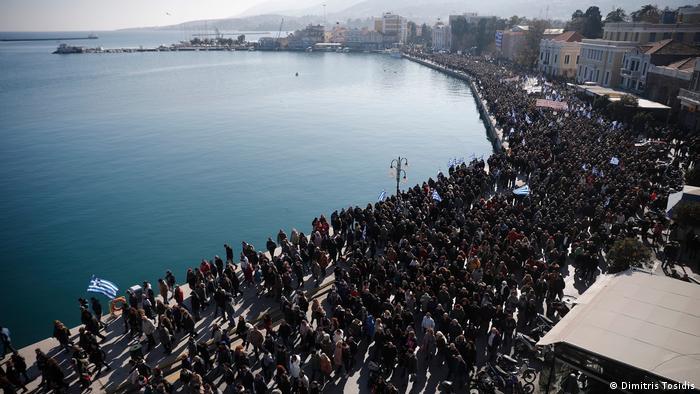 Scene showing protesters in Mytilini