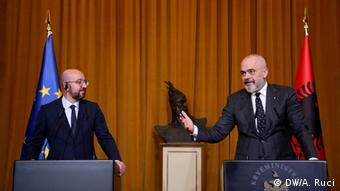 Albanien EU Ratspräsident Charles Michel bei Rama (DW/A. Ruci)