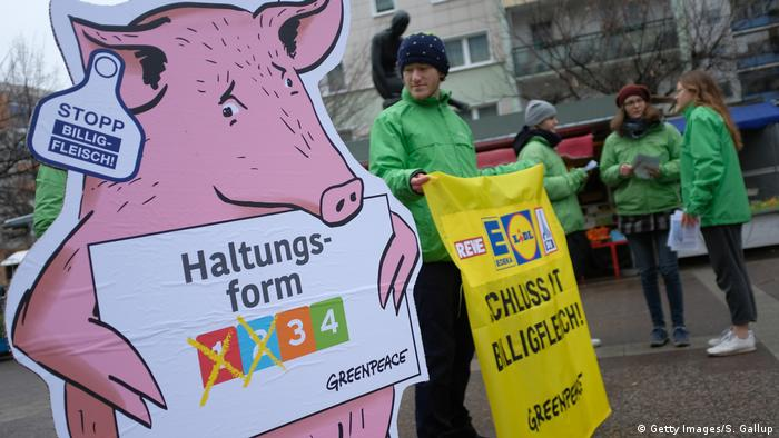 Protesters in Germany demand an end to cheap supermarket meat