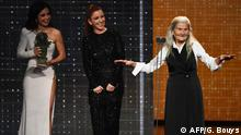 Benedicta Sanchez gives her acceptance speech for her best new actress win at Spain's Goya ceremony for her role in the film Lo que Arde Fire Will Come (AFP/G. Bouys)