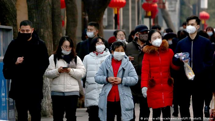 China Peking Passanten Atemmasken