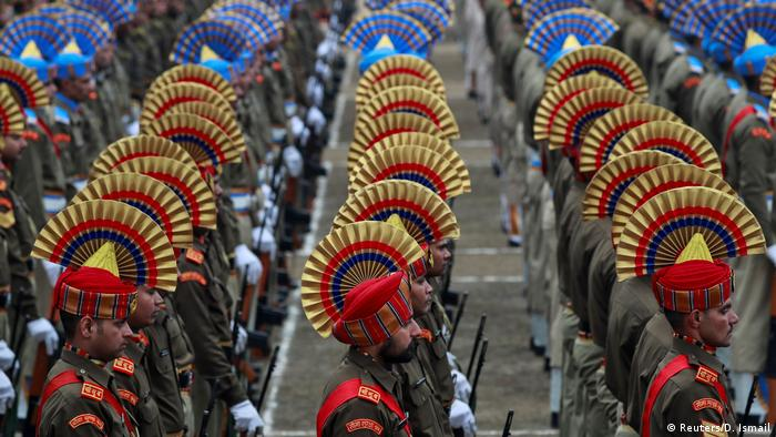 Indian police march in a Republic Day parade