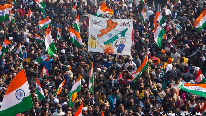 Indien Delhi Proteste gegen neues Einwanderungsgesetz am Tag der Republik