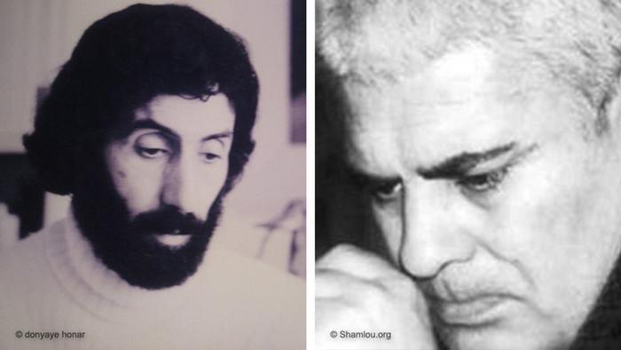 احمد شاملو (راست) و سهراب سپهری