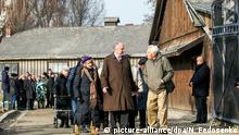26.01.2020, Polen, Oswiecim: OSWIECIM, POLAND - JANUARY 26, 2020: World Jewish Congress President Ronald Steven Lauder (C front) at the former Auschwitz concentration camp operated by Nazi Germany during WWII. Over a million Jews, as well as Soviet and Polish prisoners, were killed in the camp's gas chambers to be burnt in crematoria. Auschwitz was liberated by the Soviet Red Army on 27 January 1945; in 1947, the Polish government founded the Auschwitz-Birkenau State Museum on the site of the camp, which in 1979 was inscribed on the UNESCO World Heritage Site List. In 2005, January 27 was named International Holocaust Remembrance Day by the General Assembly of the United Nations. Natalia Fedosenko/TASS Foto: Natalia Fedosenko/TASS/dpa |