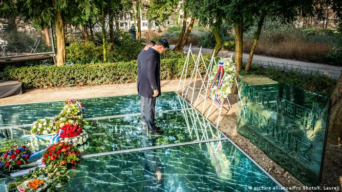 Dutch Prime Minister Mark Rutte pays tribute to the victims of the Holocaust at the National Holocaust Memorial in Amsterdam