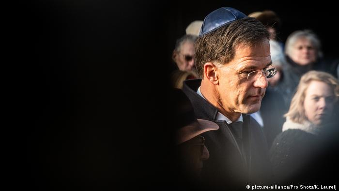 Dutch Prime Minister Mark Rutte attends a ceremony commemorating the victims of the Holocaust in Amsterdam