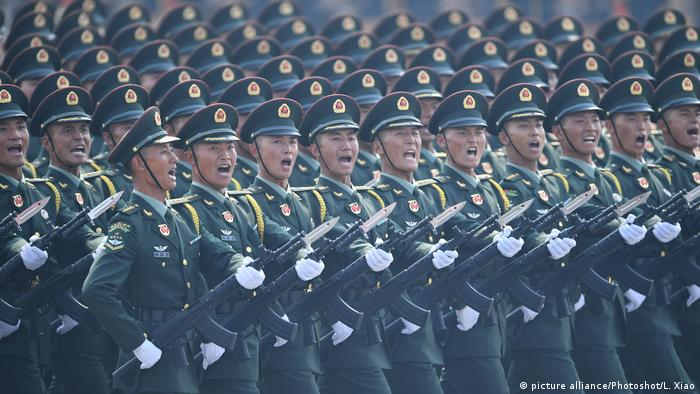 Desfile militar para comemorar o 70º aniversário da fundação da República Popular da China em 5 de janeiro de 2020.