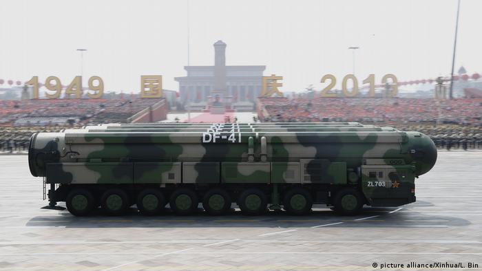 Dongfeng-41 intercontinental strategic nuclear missiles are reviewed in a military parade celebrating the 70th founding anniversary of the People's Republic of China in Beijing, capital of China, Oct. 1, 2019.