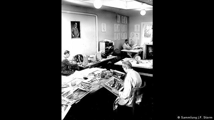 Trickfilmzeichner in einem Atelier (Sammlung J.P. Storm)