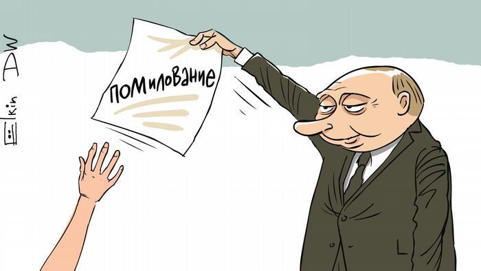 Карикатура Сергея Елкина на тему помолование Путиным гражданки Израиля