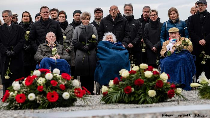Three Holocaust survivors at ceremony in Buchenwald (Getty Images/AFP/J. Schlueter)