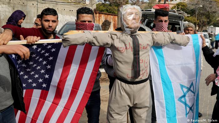 Gazastreifen Gaza City | Protest gegen Donald Trump, USA