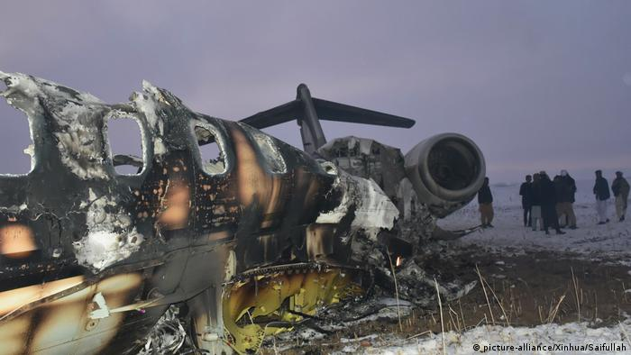 The wreckage of a plane that crashed in Ghazni province, Afghanistan