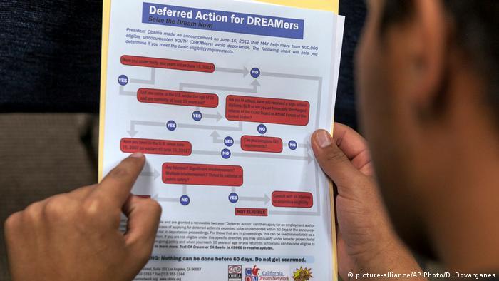 Un inmigrante lee un esquema del proceso para solicitar acogerse al programa DACA.