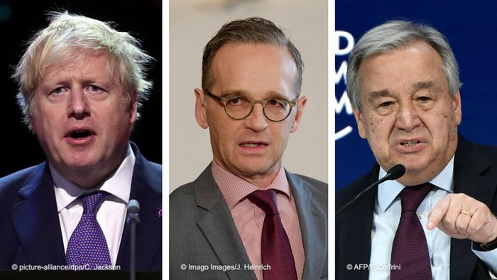 Waziri Mkuu wa Uingereza Boris Johnson (kushoto), waziri wa mambo ya nje wa Ujerumani, Heiko Maas na Katibu Mkuu wa Umoja wa Mataifa Antonio Guterres.
