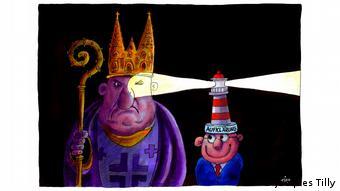 Zeichnung zeigt einen grimmigen Geistlichen, der das Auge vor der Aufklärung zukneift