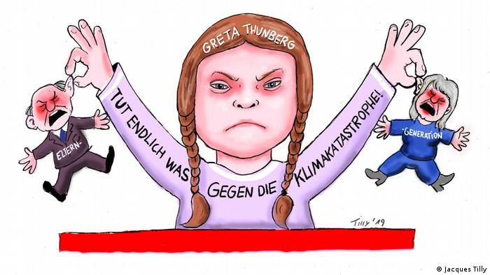 Drawing of an angry Greta Thunberg holding two little figures of old people by the ears (Jacques Tilly)
