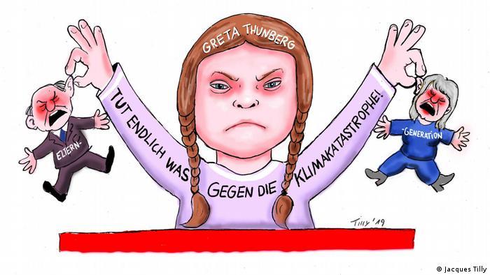 Zeichnung mit Greta Thunberg, die zwei Kleine Figuren der Eltern-Gerneration an den Ohren hochhält. Schloss Oberhausen Ludwiggalerie Ausstellung Jacques Tilly (Jacques Tilly)