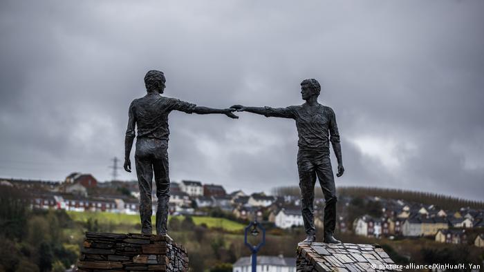 UK Northern Ireland sculpture in the border town Derry
