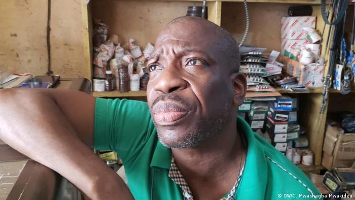 Ghanaian traderx Gabriel Nartey in his shop |