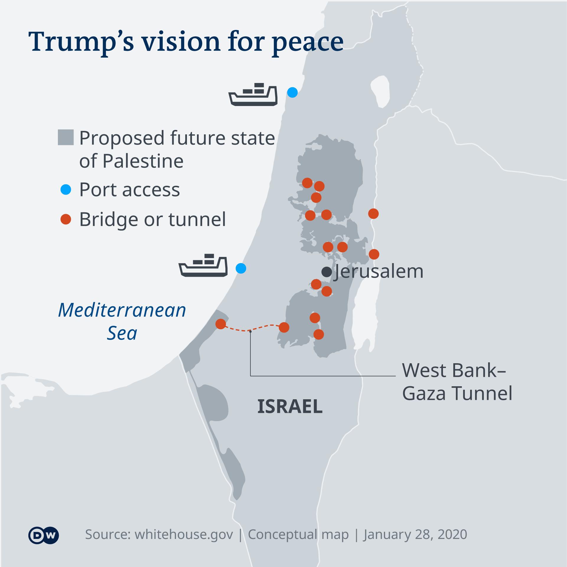 Rencana damai yang diusulkan Amerika Serikat menyerahkan sebagian wilayah Palestina di Tepi Barat kepada Israel
