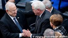 الرئيس الألماني شتاينماير مع الرئيس الإسرائيلي ريفلين في إحياء ذكرى المحرقة في البوندستاغ عام 2020.