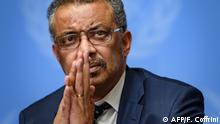 January 29, 2020*** World Health Organization (WHO) Director-General Tedros Adhanom Ghebreyesus gestures during a press briefing on evolution of new coronavirus epidemic on January 29, 2020 in Geneva. (Photo by FABRICE COFFRINI / AFP)