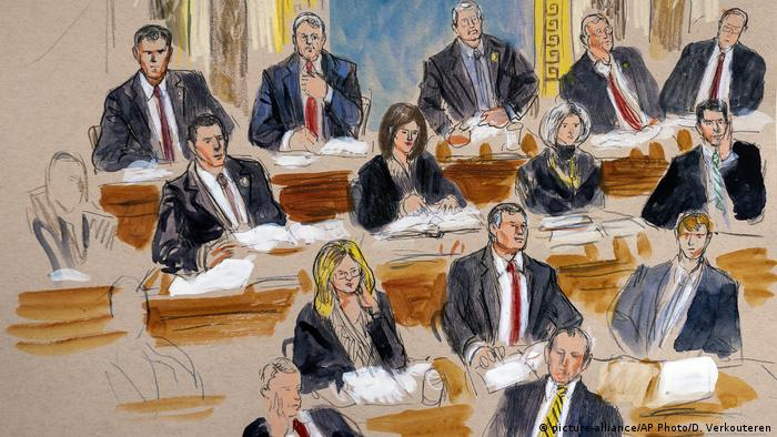 This artist sketch depicts the Republican side of the Senate during defense arguments in the impeachment trial of President Donald Trump on charges of abuse of power and obstruction of Congress, at the Capitol in Washington