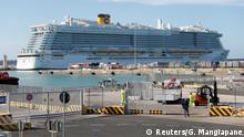 30.01.2020 The Costa Smeralda cruise ship of Costa Crociere, carrying around 6,000 passengers, is docked at the Italian port of Civitavecchia after a health alert due to a Chinese couple and a possible link to coronavirus on board, in Civitavecchia, Italy, January 30, 2020. REUTERS/Guglielmo Mangiapane REFILE - ADDING INFORMATION