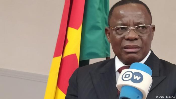 Cameroon opposition leader Maurice Kamto speaks during a press conference in Paris