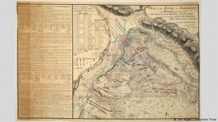 A map depicting the Battle of Minden in the Seven Years War