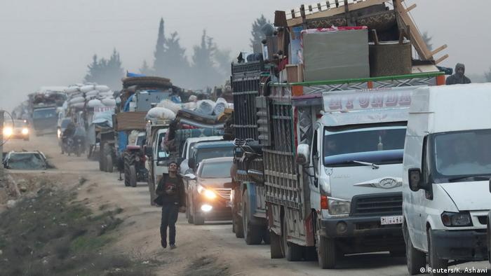 People fleeing Idlib, Syria in the wake of Russian and Turkish bombings