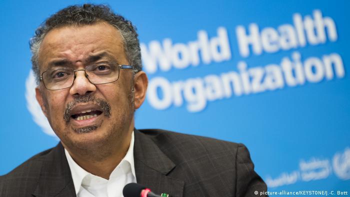 Schweiz Genf | Pressekonferenz WHO - Tedros Adhanom Ghebreyesus Ruft Gesundheitsnotstand wegen Coronavirus aus (picture-alliance/KEYSTONE/J.-C. Bott)