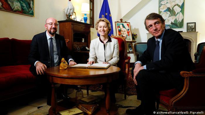 European Commission President Ursula von der Leyen, European Council President Charles Micheland the President of the European meet in France