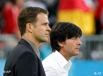 Germany's head coach Joachim Loew, right, and team manager Oliver Bierhoff
