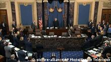 In this image from video, presiding officer Chief Justice of the United States John Roberts calls the Senate into order as a Court of Impeachment during the impeachment trial against President Donald Trump in the Senate at the U.S. Capitol in Washington, Friday, Jan. 31, 2020. (Senate Television via AP)  