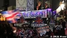 31.01.2020 Großbritannien London | Pro-Brexit Demonstranten Brexitglocken- Wagen auf Parliament Square.