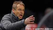 Hertha Berlin's German head coach Jurgen Klinsmann reacts during the German first division Bundesliga football match Hertha Berlin v Schalke 04 in Berlin, on January 31, 2020. (Photo by Odd ANDERSEN / AFP) / DFL REGULATIONS PROHIBIT ANY USE OF PHOTOGRAPHS AS IMAGE SEQUENCES AND/OR QUASI-VIDEO (Photo by ODD ANDERSEN/AFP via Getty Images)