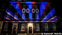 A countdown clock is illuminated at 10 Downing Street on Brexit day in London, Britain January 31, 2020. REUTERS/Toby Melville