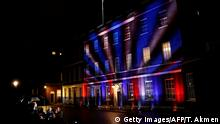 Red, white and blue lights illuminate 10 Downing Street, the official residence of Britain's Prime Minister, in central London on January 31, 2020, after Britain left the European Union at 2300GMT. - Brexit supporters gathered outside parliament on Friday to cheer Britain's departure from the European Union following three years of epic political drama -- but for others there were only tears. After 47 years in the European fold, the country leaves the EU at 11:00pm (2300 GMT) on Friday, with a handful of the most enthusiastic supporters gathering opposite the Houses of Parliament 12 hours before the final countdown. (Photo by Tolga AKMEN / AFP) (Photo by TOLGA AKMEN/AFP via Getty Images)