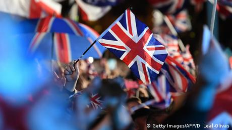 UK flags waving to celebrate Brexit on January 31, 2020 in London